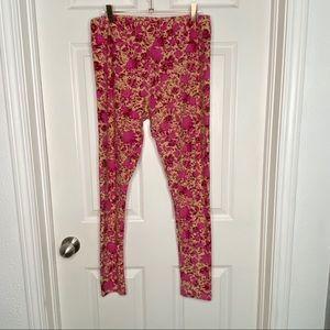 Pink floral Lularoe leggings